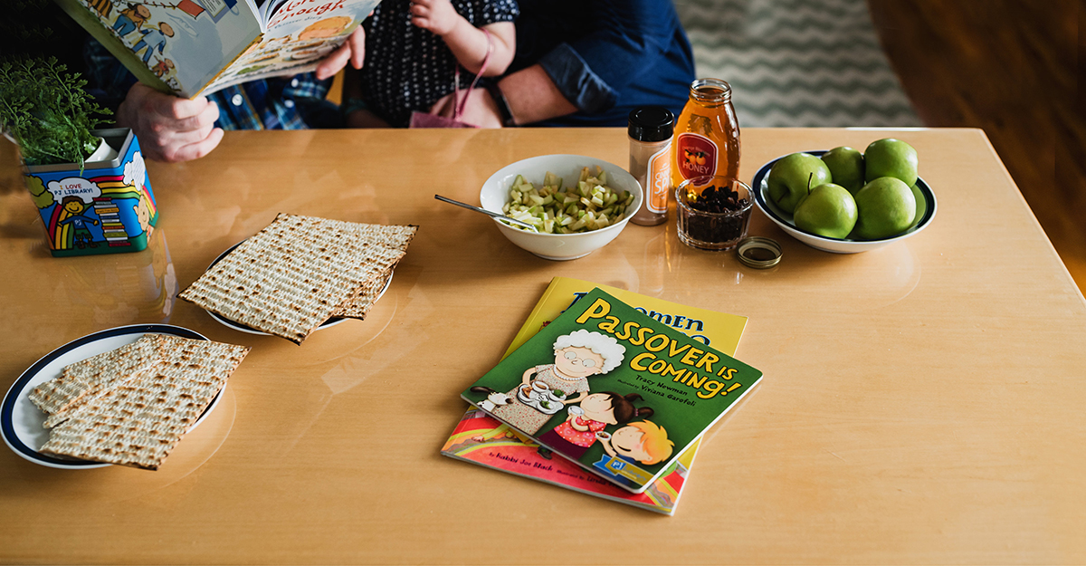 passover books, parsley, matzah
