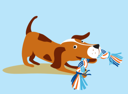 Illustration of dog in play bow with rope toy