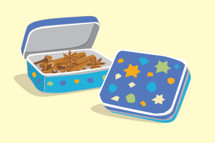Spice box illustration with stars and shapes on the top
